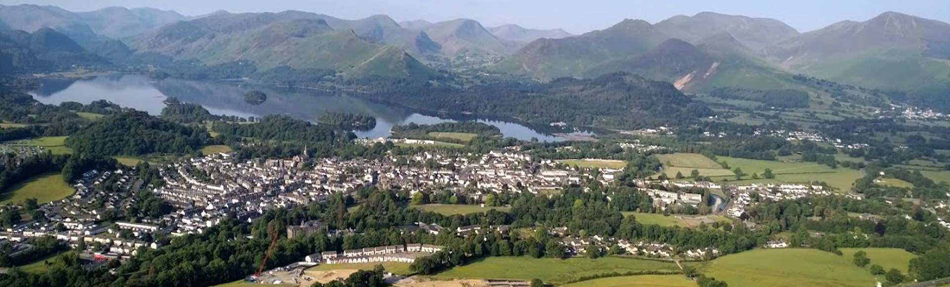 Ariel view of Keswick & Derwentwater in the Lake District